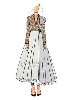 Ethnic Off White Anarkali suit