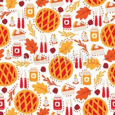 Thanksgiving Dinner Seamless Vector Pattern by Mylana Musiienko at patterndesigns.com Vector Pattern, Pattern Design, Jam Jar, Warm Colors, Vector Design, Surface Design, Thanksgiving, Autumn, Dinner