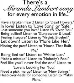 There's a Miranda Lambert song for every emotion in life... Country Music Quotes, Country Lyrics, Country Songs, Country Life, Country Girls, Country Charm, Country Living, Southern Charm, Southern Belle