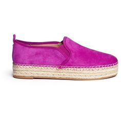 Sam Edelman 'Carrin' suede flatform espadrilles ($90) ❤ liked on Polyvore featuring shoes, sandals, pink, pink espadrilles, braided sandals, pink suede sandals, slip on shoes and pink sandals