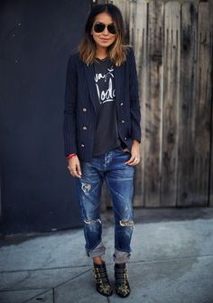Citizens of Humanity | dark rinse distressed boyfriend jean as seen on @sincerelyjules1