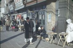 Vendors and restaurants, 1949 Seoul. Photo is lightened from original (link).
