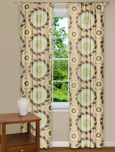 Modern Curtains With Large Medallion Design in Sage
