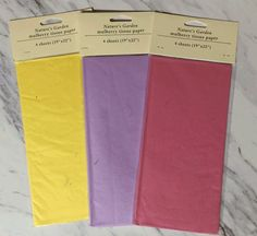48 Sheets Total! Mulberry Tissue Variety Pack. 12 Individual Packs : Yellow, Lavender, Fuchsia -- Want to know more, click on the image.
