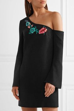 Rachel Zoe - Harper One-shoulder Embellished Crepe Mini Dress - Black - US10