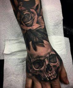 Fantastic Back of Hand Tattoo - Katie Wood - # Back of Hand . - Fantastic Back of Hand Tattoo - Katie Wood - # Hand back tattoo - Fantastic Back of Hand Tattoo - Katie Wood - Skull Rose Tattoos, Skull Sleeve Tattoos, Best Sleeve Tattoos, Sleeve Tattoo For Guys, Totenkopf Tattoos, Full Hand Tattoo, Back Tattoo, Tattoo Forearm, Tattoo Ideas