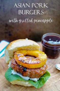 This recipe for Asian Pork Burgers with Grilled Pineapple is packed with flavor and perfect for a twist on your classic hamburger. Made with spices, soy sauce and a teriyaki glaze, this burger pairs perfectly with brown sugar glazed grilled pineapple! Grilling Recipes, Pork Recipes, Veggie Recipes, Asian Recipes, Cooking Recipes, Hamburger Recipes, Veggie Food, Recipes With Pork Burger, Asian Pork Burgers Recipe