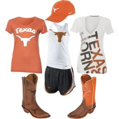 """Texas Longhorns Fan Gear"" on Polyvore I want the white shirt!"