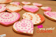 spray painted cookies - #valentinesday