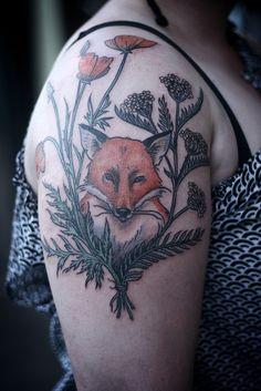 fox, poppies, & yarrow tattoo by alice carrier at anatomy tattoo in portland oregon