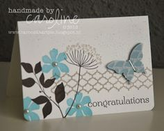 handmade card ... Summer Silhouettes ... one layer card ... blue, brown, white ... Stampin' Up!