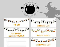 6 personal size HALLOWEEN INSERTS for di TheLittlePlannerShop