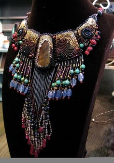 Beauty of Egypt  Necklace by ARTSTUDIO51 on Etsy, $630.00 This bead embroidery makes such a statement.  s