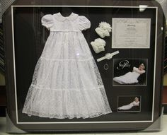 A memory preserved for a lifetime. Shadow boxed baby blessing dress and other mementos. Framed by Frameworks of Utah. Baby Blessing Dress, Baby Dress, Baby Decor, Baby Shower Decorations, Baby Frame, Baby Dedication, Baby Memories, Baby Keepsake, Christening Gowns