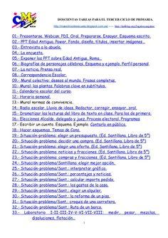 200 tareas para el 3r ciclo de primaria. A doscientas tareas para ti. 2014.1 by Alfonso Cortes Alegre via slideshare