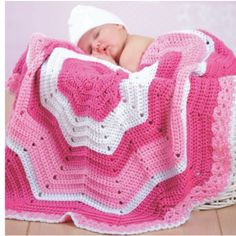 Mary Maxim - Ripple of Joy Baby Afghan - Kit includes Premier Everyday yarn and pattern book with 7 additional designs to crochet for your little one.