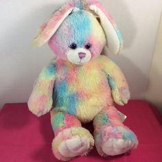 "Build-a-Bear Pastel Watercolor Rainbow Plush Bunny Rabbit 2011 18"" Talks #BuildaBear #Easter"