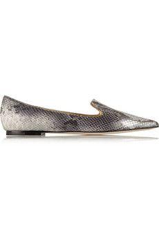 Fall Shopping List! xoSocialite Jimmy Choo Gesso snake-effect leather point-toe flats   NET-A-PORTER