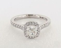 .8ct Cushion Halo Engagement Ring in White Gold - See it in 360 HD SuperZoom!