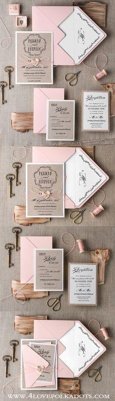 Monogram Wedding Invitations || @4LOVEPolkaDots