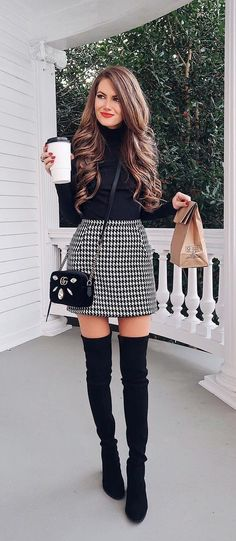 dresses in winter outfit / dresses in winter . dresses in winter how to wear . dresses in winter cold weather . dresses in winter outfit . dresses in winter work . dresses in winter with boots . dresses in winter party . dresses in winter formal Winter Fashion Outfits, Fall Winter Outfits, Look Fashion, Autumn Winter Fashion, Womens Fashion, Winter Outfits With Skirts, Winter Chic, Fashion Black, Winter Clothes