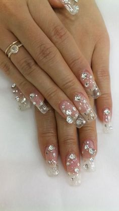 Clear nails with Bling #nail art  why does this remind me of acrylic platform stripper shoes??