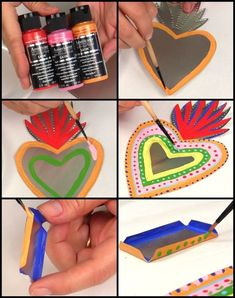 ideas for BOX making project Mark Montano: Mexican Tin Folk Art DIY Mexican Crafts, Mexican Folk Art, Mexico Art, Tin Art, Mexican Designs, Heart Art, Art Activities, Metal Art, Art Lessons