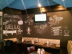 Freehand chalkboard design in The Fat Angel, Budapest. #chalkboard #lettering #calligraphy #design