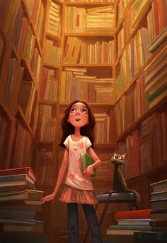 A girl in butterflies, her black cat, and tons of books! (Illustration by Erwin Madrid)