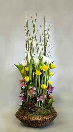 A layered basket arrangement.