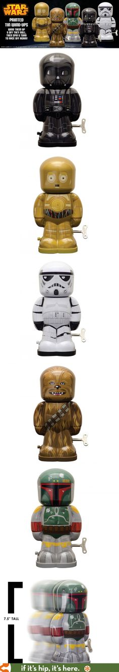 "Beautiful tin lithographed Star Wars wind-up walkers are 7.5"" tall and perfect for the kid or collector."