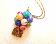 Disney UP Inspired Necklace. Colorful Balloons. by MintMarbles, $24.00