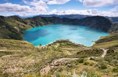 Quilotoa, Andes mountains, Ecuador. Formed after a catastrophic volcanic eruption about 800 years ago. The turquoise lake at the center of the crater, due to the acidity of the lake a swim would be out of the question.