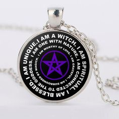"I am a witch. I am spiritual. I am blessed. I am unique. The ""I am a Witch"" pendant is the perfect way to remind yourself that you are unique, loved and connected to the goddess and nature. Original a"