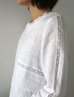 [Envelope Online Shop] Lucia idear for utilising laces - short sleeve white blouse womens, ladies blouses for ladies blouse styles *ad Fashion Details, Boho Fashion, Fashion Outfits, Linens And Lace, Heirloom Sewing, White Shirts, Sewing Clothes, Refashion, Dressmaking