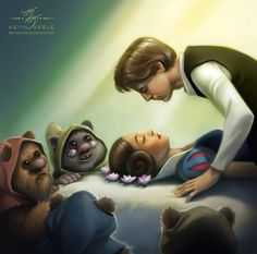 Princess Leia and the Seven Ewoks, an illustration by Disney Interactive Studios artist Kevin Keele, displays an artistic mixture of both Disney and Star Wars characters. He created the piece to celebrate Disney acquiring Lucasfilm. lol This is funny. Disney Star Wars, Disney Stars, Disney Love, Disney Magic, Sith, Chewbacca, Ewok, Princesa Leia, Cultura Nerd