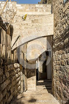The old streets and houses of the ancient city of Jerusalem