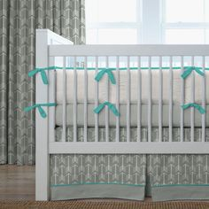 Project Nursery - Gray and Teal Arrow Crib Bedding from Carousel Designs- w/navy sheets- precious!!!!