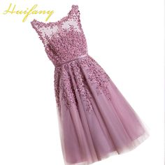 Huifany Women Short Evening Dresses 2017 Dusty Pink Cheap Tea Length Prom Dresses Lace Appliques with Pearls Party Gowns cortos