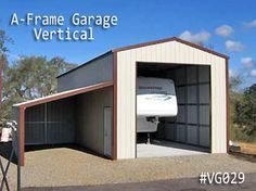 AFrame Metal Garage Vertical Roof - to store the wheel when we aren't out camping/hunting. Pole Barn Garage, Rv Garage, Garage Doors, Pole Barns, Coast To Coast Carports, Rv Carports, Metal Garages, Steel Buildings, New Builds