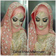 wedding makeup hijab Inspiring Wedding Make Up Ideas with Arabic Style Bridal Hijab Styles, Hijab Wedding Dresses, Hijab Bride, Pakistani Bridal Dresses, Bridal Outfits, Bridal Style, Wedding Wear, Wedding Makeup, Bridal Makeup