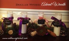 Dollar Store Advent Wreath Candle Display by On The Way Home