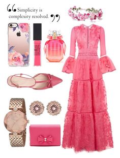 """All pink💕"" by muna-alro7 on Polyvore featuring Costarellos, Kate Spade, Ted Baker, Casetify, Maybelline and Victoria's Secret"