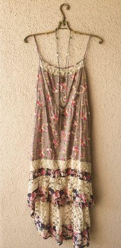 Image of Free People  hippie festival Coachella vintage floral print maxi dress