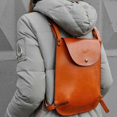 Bright small leather bakpack for the documents or tablet. #leather #fashion #backpack