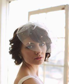 Blusher Veil Scattered Pearls Bridal Veil by MelindaRoseDesign