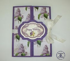 Gatefold Card:  Spring Lilacs Stamp Set, Cut File, and Paper Pack, Fancy Labels 2 Stamp Set and Dies, and Mother's Day Bouquet Stamp Set.