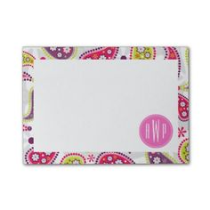 Paisley & Pink Monogram Post-it Notes by Jill's Paperie