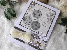 Christmas Bauble Card 8 x 6 White Cream Silver by 4SeasonCards