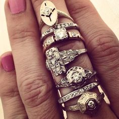 Antique white gold and diamond rings, from $700.